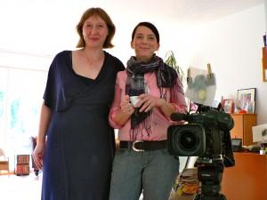 Tanja und Ruth vor dem Buchtrailer-Dreh